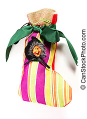 Epiphany stocking - Epiphany sock decorated with old woman...