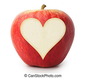 Love Apple - Heart cut out of the side of an apple in white...