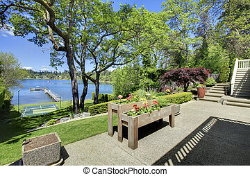 Luxury real estate lake view from home balcony. - Luxury...
