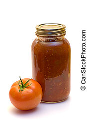 Mild Salsa - A mild homemade salsa shot on a white...