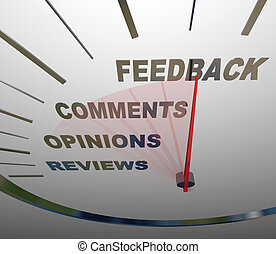 Feedback Speedometer Measuring Comments Opinions Reviews - A...
