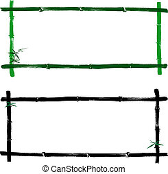 bamboo frame - Hand drawn illustration of a bamboo frame on...