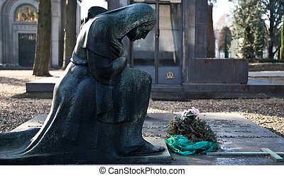 Cemetery Statue - Italian monumental cemetery: collection of...