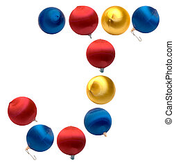 Letter J - The letter j spelled using Christmas balls,...