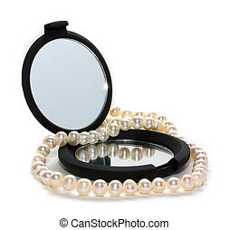 pearl beads and mirror - pearl beads and black mirror