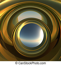 Abstract Portal to Future - A cool metallic golden portal....