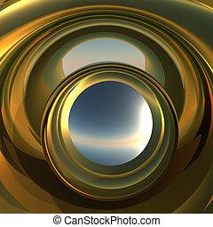 Abstract Portal to Future - A cool metallic golden portal....
