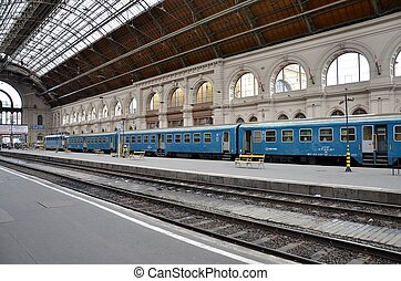 Train at platform in Budapest - A regional commuter train...