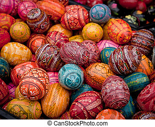 Hand painted easter eggs background