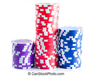 Chips for poker isolation on white background