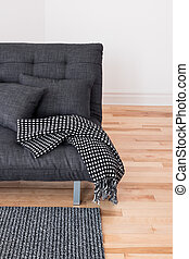 Gray sofa with cushions and throw - Gray sofa with cushions...