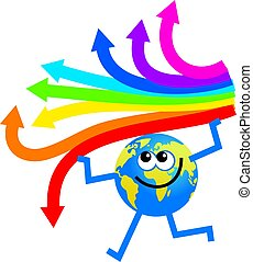 arrow globe - cartoon globe man holding a set of rainbow...