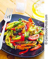 conmoción, frito, variedad, vegetales, tailandés, estilo,...