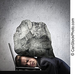 mashed by work - businessman with head crushed by a boulder