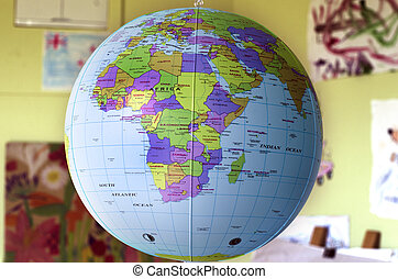 The globus - Political map of Africa continent on the globus...