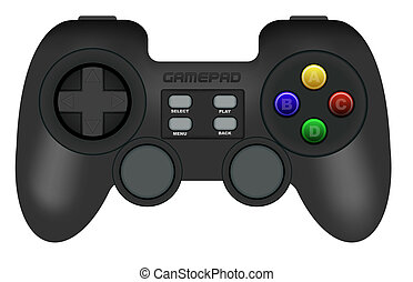 Gamepad - Illustration of Black Gamepad Isolated on White