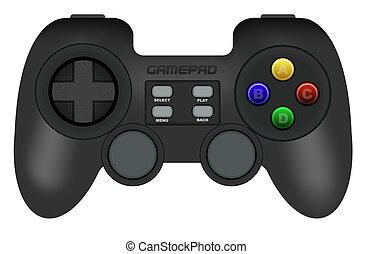 Gamepad - Illustration of Black Gamepad Isolated on White