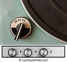 Vinyl player controls - Old dusty vinyl player controls