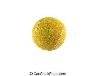old tennis ball isolated on white