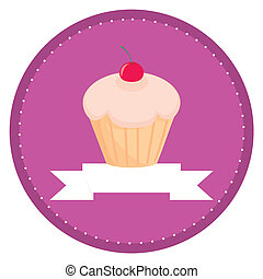 Sweet vector retro muffin cupcake with cherry on top and...