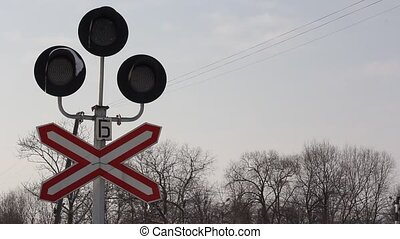 Railway semaphore with a resolution white light.