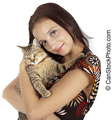 cat and young woman - cat and young beautiful woman