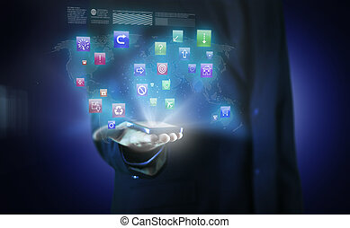 Businessman in blue suit working with digital virtual screen...