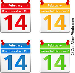 Calendar pages with 14 february and valentine's day...