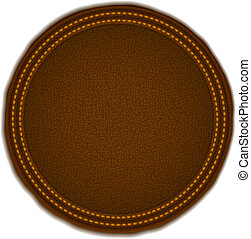 Round leather badge, vector eps10 illustration