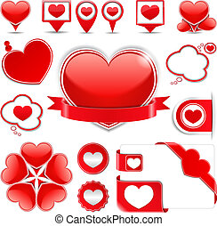 Design Elements with Hearts - Set of different design...