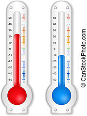 Thermometers - Two thermometers on white background, vector...
