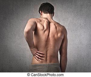 conmovedor, el suyo, espalda, hombre