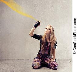 Woman with paint - Woman spraying graffiti paint