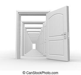 Doors open - Doors  open. Opportunity. 3d redner