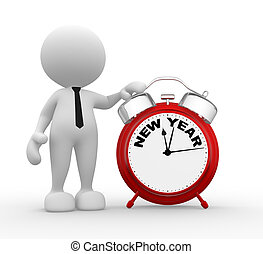 Clock - 3d people - man, person and red alarm clock. New...