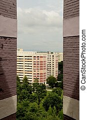 Apartment buildings in Singapore - 'Curtained'view of public...