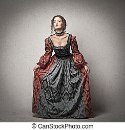 beautiful lady of the eighteenth century on a gray...