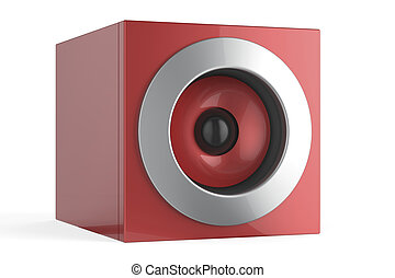 Red speaker - Modern red audio speaker on white background