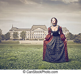 beautiful lady of the eighteenth century in the garden of...