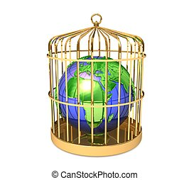 3d Earth globe in golden cage