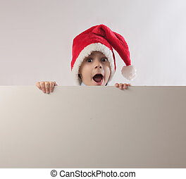 child with hat - baby with santa claus hat and blank...