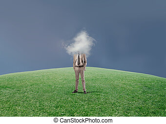 head in the clouds - businessman with head in the cloud