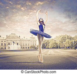 dancer posing - dancer with blue tutu posing on the road