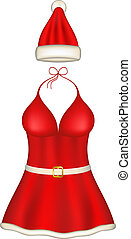 Sexy santa clause costume on white background