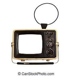 Old portable tv receiver with blank screen
