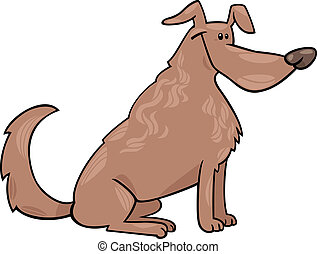 cute sitting dog cartoon illustration