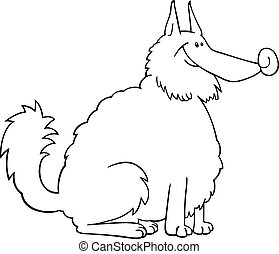 spitz dog cartoon for coloring book - Black and White...