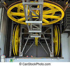 mechanism Cable car - yellow wheel mechanism Cable car ride...