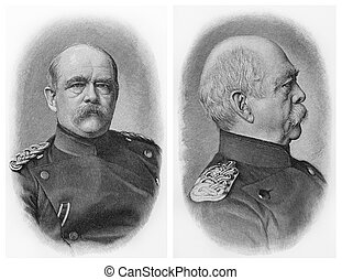 Otto Von Bismarck old engraving - Vintage 19th century old...