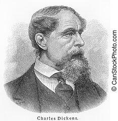 Charles Dickens old engraving - Vintage 19th century old...
